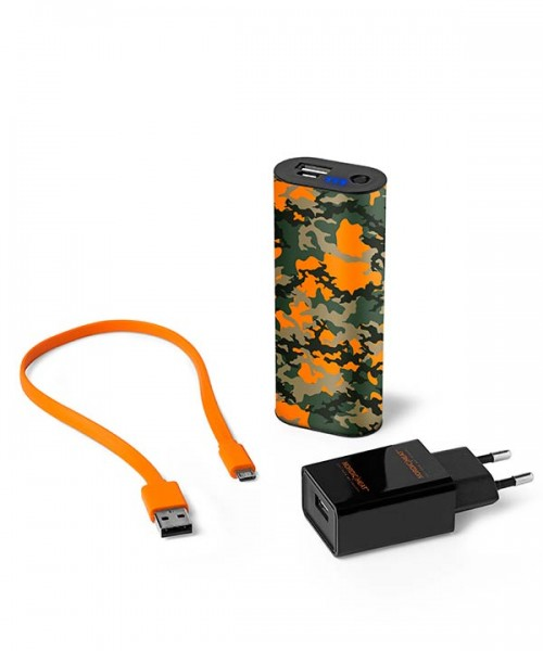 Handwärmer / Powerbank 5000mAh Orange/Camouflage