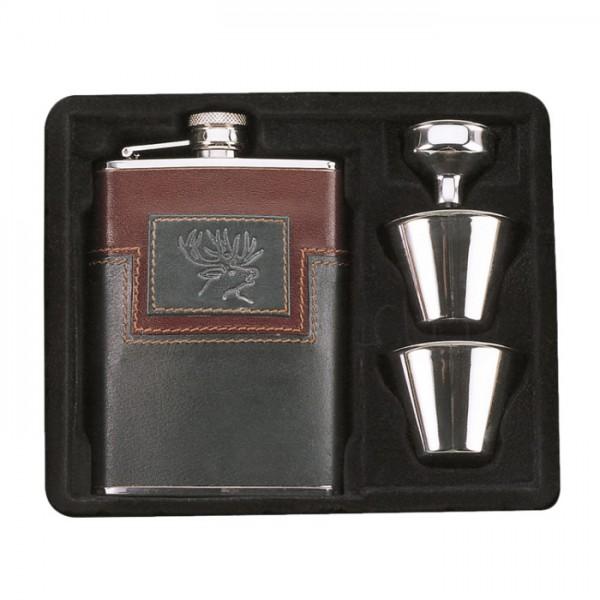 Edelstahlflasche 180 ml, 2 Becher, Geschenkbox