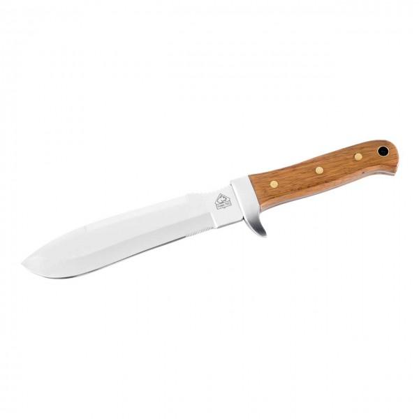 TEC Outdoormesser, AISI 420 Stahl, Palisandergriff, Beilschneide, Anreißzahnung, Lederscheide
