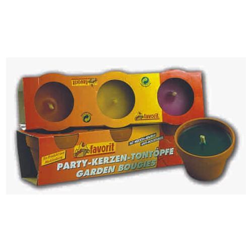 Party-Kerze im Tontopf, 3er Pack
